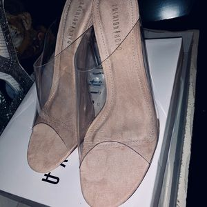 Clear/faux suede slip on heels.  NEW Comes in box.